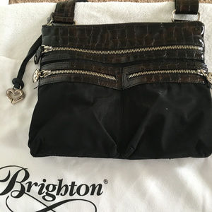 Brighton Black Nylon Crossbody Purse